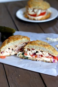 """A copycat of a Panera Bread favorite, it's hard to say """"no"""" to shredded chicken, tomato, red onion, and cheese between focaccia."""