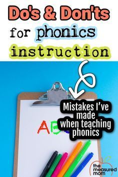 Are you wondering how to teach phonics? There are some important do's and don'ts to keep in mind when it comes to powerful phonics instruction. The Measured Mom shares information and mistakes that have taught her what may work best for your child or students. Phonics Lessons, Teaching Phonics, Phonics Worksheets, Phonics Activities, Kindergarten Reading Activities, Teaching Reading, Creative Teaching, Teaching Tips, Cvce Words