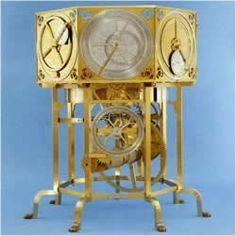 reproduction de l'Astrarium (1364) de Giovanni Di'Dondi's, fils de Jacopo  - une horloge d'un mètre de haut avec sept cadrans de Ptolémée , et une avancée de deux secondes foliot échappement à verge . Il a montré la date , et le mouvement du soleil , la lune et les cinq planètes qui ont été connues à l'époque ( Mercure, Vénus , Mars , Jupiter et Saturne ) . Terre , bien sûr , était au centre . Il lui a fallu seize années pour concevoir et construire ce bijou