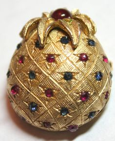 Vintage signed Ciner pin brooch goldtone with ruby and by lbjool, $22.00