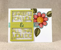 Floral Text Block Card by Lizzie Jones for Papertrey Ink (July 2014)