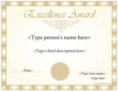 Blank award certificate template for word chose from several free special certificate award template for excellence certificatestreet yadclub Gallery