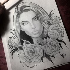 #hairstyle #hair #drawing #graphicsgirl #flowers #fantasy #customtattoo #roses #woman #graphics #art #sketch #tattoosketch #blackandgrey #blackandwight