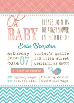 Baby fox and peacock baby shower invitation fox by montrosedesigns baby girl shower invitation aqua turquoise chevron and pink coral salmon little bird filmwisefo Gallery