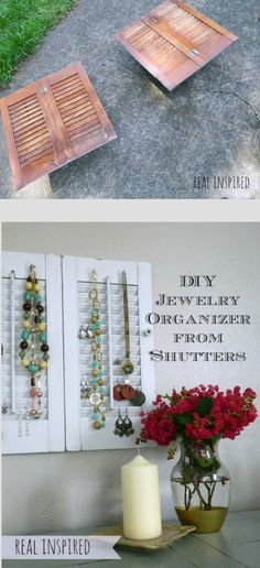 DIY Jewelry Organizer made from old Shutters