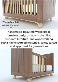 Wonderland Crib by McIntyre Furniture, LLC. Female woodworker, artist, and… Timeless Design, Modern Design, Full Size Mattress, Childrens Beds, Fine Woodworking, Kids Furniture, Pacific Northwest, Interior Architecture, Toddler Bed