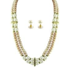 2 String Peach White Pearl Set with semi precious stones and button shaped pearls. Perfect for a day at the office!