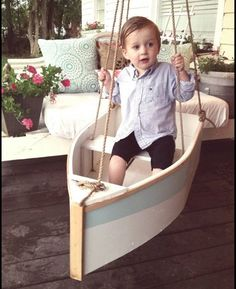 This wood boat swing is 16 in wide by 30 in long. It can swing from a porch, a tree, or a swingset. It is constructed of outdoor materials and hardware. The rope is natural manila and rated for 200lb workload. I can also make smaller sizes and and other colors for photo props ect, just message.  If you a have deadline, just message me, Ill see what I can do.   Ships to the lower 48 states, everywhere else, please ask for a shipping quote.  SAFETY DISCLAIMER any swing is only as safe as the…