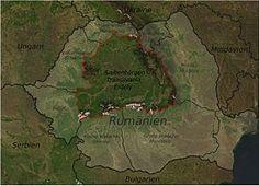 Karte Rumäniens mit Siebenbürgen. Die Regionen Banat, Crișana und Maramureș werden gelegentlich zu Transilvania hinzugezählt