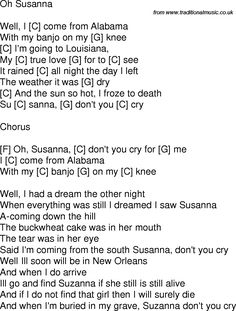 Old time song lyrics with guitar chords for Oh Susanna C Guitar Chords For Songs, Guitar Songs, Acoustic Guitar, Music Lessons, Guitar Lessons, Christian Music Lyrics, Campfire Songs, Song Lyrics And Chords, Sing Along Songs