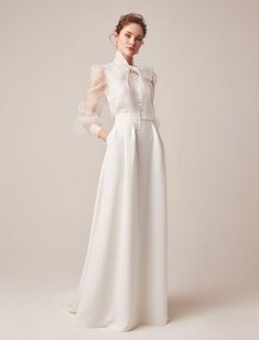 Wedding dress with sleeves Jesus Peiro reveals 2020 bridal collection., Wedding dress with sleeves Jesus Peiro reveals 2020 bridal collection. Click the link to view the full collection. Dream Wedding Dresses, Bridal Dresses, Wedding Gowns, Lace Wedding, Wedding Outfits, Bridal Collection, Dress Collection, Bridal Separates, Blouse And Skirt