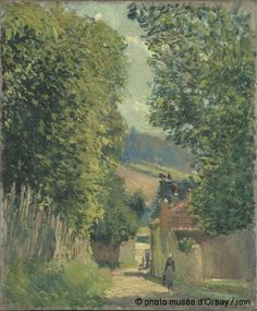 Alfred Sisley A Street in Louveciennes around 1876 Impressionist Landscape, Landscape Paintings, Landscapes, Sisley Alfred, Monet, Painting Gallery, Reproduction, Figure Painting, Online Art