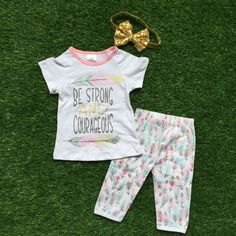 Girls Summer clothes baby girls boutique clothing be spring and courageous outfits children summer clothing with headband