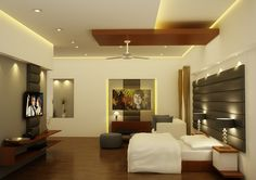This is Modern Artistic Bedroom Design Item of Single Story Contemporary Home. Adorable bedroom design, ceiling design, bed and side table design, lcd cabnet Architecture Design, Residential Architecture, Artist Bedroom, Ceiling Design, Interior Design, Contemporary Design, Home, Modern, Nest Design