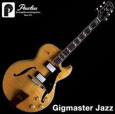 "Peerless Gigmaster Jazz Full Hollow Body Jazz Electric Guitar Natural Flame 16"" #Peerless"