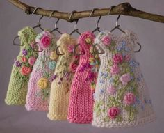 tiny knitted and embroidered dresses