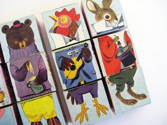 1960 golden book blocks  vintage by pinkshirtsncarwrecks on Etsy