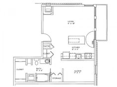 Alcove Floor Plan of Property Eitel Building City Apartments. Eitel Building City Apartments with large closets, over-sized storage and spacious floor plans in downtown Minneapolis. Apartments for rent in Loring Park.