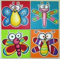 HaPPy BuGs - set of 4 12x12 original paintings on canvas for baby,  FREE SHIPPING, nursery wall art, playroom decor