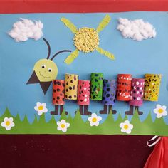 "New Post has been published on www. ""Caterpillar craft idea for kids Tihs page has a lot of free Caterpillar craft idea for kids,parents. Kids Crafts, Summer Crafts, Toddler Crafts, Projects For Kids, Diy And Crafts, Arts And Crafts, Toilet Paper Roll Crafts, Paper Crafts, Classroom Wall Decor"