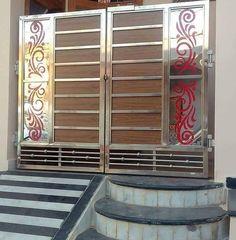Gate Wall Design, Grill Gate Design, House Main Gates Design, Door And Window Design, Front Door Design Wood, Steel Gate Design, Front Gate Design, Wooden Door Design, Railing Design