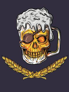 "Perfect Boyfriend 596023331918748255 - ""Pirate Skull Beer Mug Malt Men Women Drinking Gift"" T-shirt for craft beer lovers like husband and boyfriend that are pirate skull fans and drinks alcohol and malt beer. Bruder Tattoo, Arte Bar, Tattoo Geek, Malt Beer, Skull Hand, Skull Illustration, Beer Art, Beer Lovers, Crane"