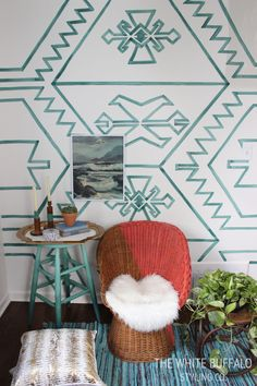 DIY Watercolor Kilim Wall