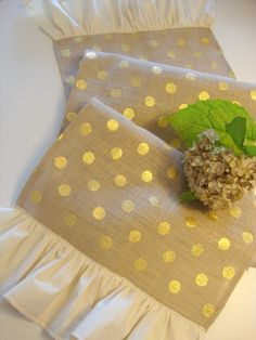 Burlap Table Runner with Ruffle Gold Polka Dot by MadebyMegra, $19.99