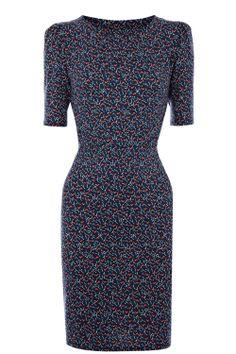 love print pleat dress /warehouse dress