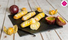 Eclairs vanille et fruits de la passion - Participation à la Battle Food Battle, Passion, Top, Ideas, Sprouts, Vanilla, Food, Thoughts, Crop Shirt
