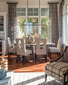 Windover Model at Barefoot Beach contemporary dining room - Home Page Dining Room Curtains, Dining Room Windows, Dining Room Chairs, Dining Rooms, Diy Curtains, Short Curtain Rods, Short Curtains, Window Treatments Living Room, Interior Design Boards