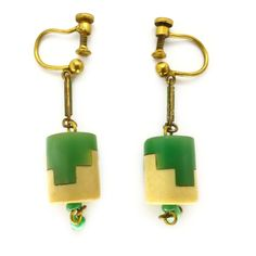 Image of Vintage French 1940s Louis Rousselet Galalith Puzzle Earrings