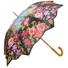 Umbrella With Rose Flowers in red pink and purple