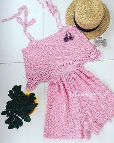 Crochet Bikini Pattern, Crochet Shorts, Crochet Crop Top, Crochet Shawl, Crochet Clothes, Knit Crochet, Crochet Summer Tops, Crochet For Kids, Crop Top And Shorts
