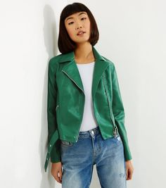 Green Belted Leather-Look Cropped Biker Jacket   New Look