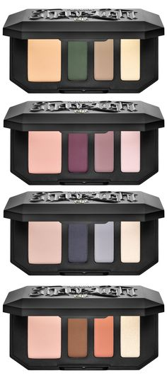 Kat Von Shade + Light Eye Contour Quad for Spring 2016 | Top to Bottom: Sage for brown eyes, Plum for green eyes, Smoke for all eye colors, Rust for blue eyes