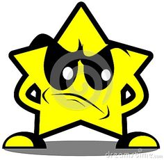Cartoon illustration representing a sad star
