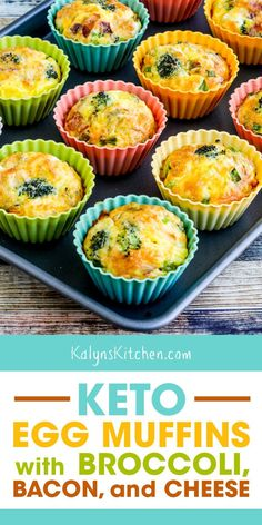 Keto Egg Muffins with Broccoli, Bacon, and Cheese were such a tasty combination and they use ingredients I usually have in the house! [found on KalynsKitchen.com] #KetoEggMuffins #LowCarbEggMuffins #EggMuffinsRecipe #EggAndGrapefruitDiet Low Carb Pasta, Low Carb Meal, Low Carb Dinner Recipes, Keto Recipes, Lunch Recipes, Induction Recipes, Zero Carb Diet, Bariatric Recipes, No Carb Diets