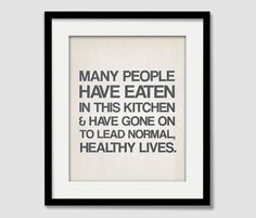 Kitchen Quote Inspiration Wall Art  Many People by EmbieOnline, $15.00