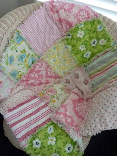 Pink and Green Roses Baby Rag Quilt Heather Bailey Tanya Whelan Fabrics Reversible via Etsy