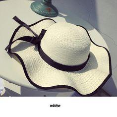 91c63b6154f Floppy Straw Hat with big bow. YIFEI 2018 New Fashion Women Wide Large Brim  Floppy Summer Beach ...