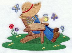 Fisherman Fred in Adirondack Chair Hand Applique, Applique Patterns, Applique Quilts, Quilt Patterns, Machine Embroidery Projects, Free Machine Embroidery Designs, Sue Sunbonnet, Farm Quilt, Baby Patchwork Quilt