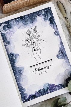 Bullet Journal Monthly Cover Ideas For February 2019 - Crazy Laura Looking for monthly cover ideas to start off a new month in your bullet journal! These February cover page examples will give you the inspiration you need! February Bullet Journal, Bullet Journal Cover Ideas, Bullet Journal Notebook, Bullet Journal Spread, Bullet Journal Inspo, Bullet Journal Ideas Pages, Journal Covers, Journal Pages, Album Journal