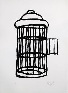 When the author Kurt Vonnegut passed away his website displayed a simple black-and-white drawing showing an empty birdcage with the door wide open. Reference to Breakfast of Champions.