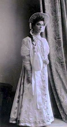 Vera Sergeevna, Countess Witte at the Winter Palace Costume Ball of 1903, in 17th-century boyarishnya's attire.