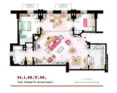 """""""How I Met Your Mother"""" – Ted Moseby's apartment floor plan by Iñaki Aliste Lizarralde"""