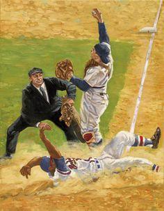 Yogi Berra, Hank Aaron & HOF umpire Bill McGowan