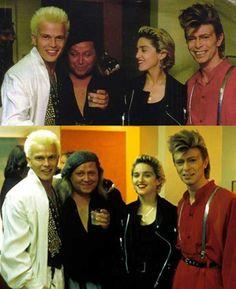 Billy Idol, Sam Kinison, Madonna and David Bowie.