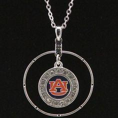 Auburn Tigers Hoop and Circle Rhinestone Necklace