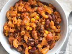 This rich and comforting Cheesy Vegetarian Chili Mac cooks in one pot and in just about 30 minutes, making it the perfect stress-free weeknight dinner. Cheesy Vegetarian Chili Mac by One Pot Vegetarian, Vegetarian Dinners, Cheap Vegetarian Recipes, Easy Vegitarian Dinner Recipes, Vegetarian Protein Meals, Vegetarian Chili Mac Recipe, Cheap Vegan Meals, Vegetarian Cookbook, Vegetarian Barbecue